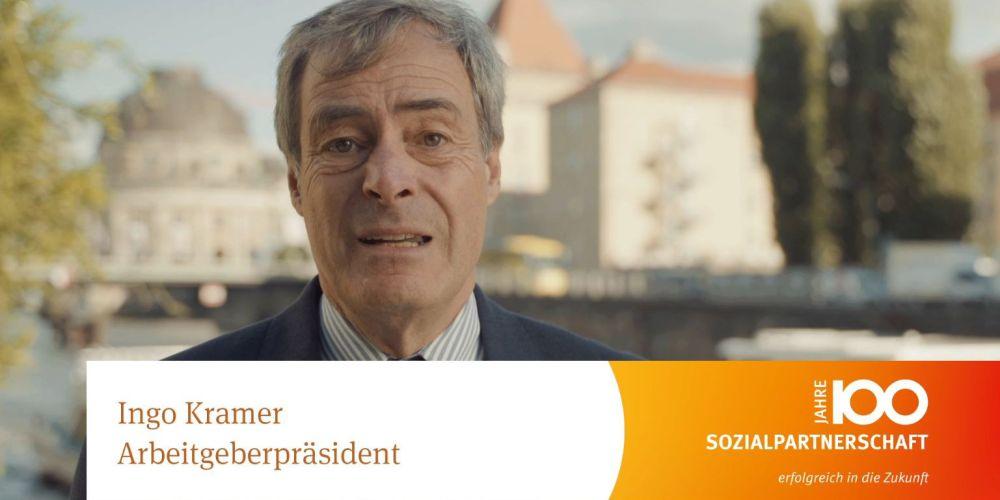 Statement des BDA-Präsidenten Ingo Kramer zum 100. Jubiläum der Sozialpartnerschaft zwischen Unternehmerverbänden und Gewerkschaften, dem sogenannten Stinnes-Legien-Abkommen.
